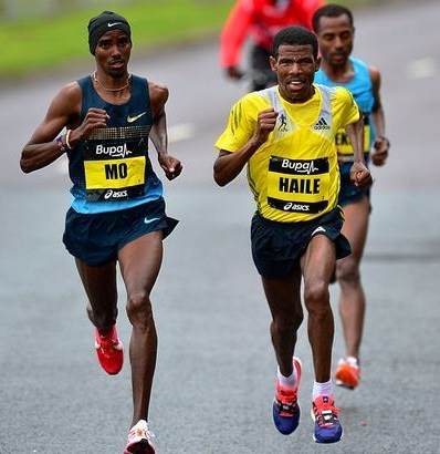 Gebrselassie dueling with Farah and Bekele at the Great North Run