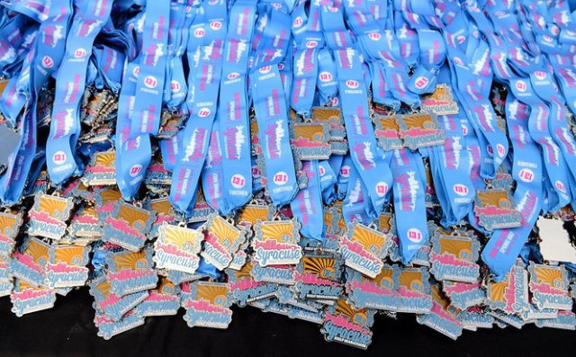 Medals from last year's Syracuse Half Marathon