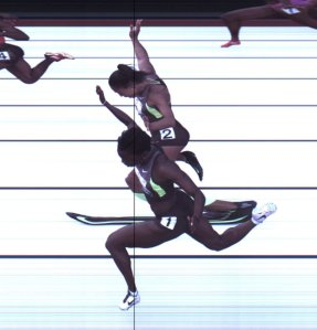 Allyson Felix and Jeneba Tarmoh at the 2012 Olympic Trials