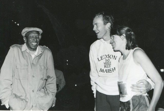 After the 1991 Race: Ted Corbitt (left) and Ann Trason (right)