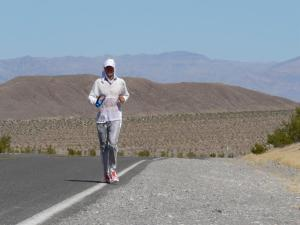 "Running the white line at Badwater to prevent ""shoe melt"""