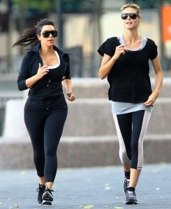 Kim Kardashian and Heidi Klum Jog